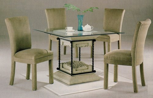 Image of 5pc Faux Stone Glass Top Dining Table & Tan Parson Chairs Set (VF_dinset-7065-4550TAN)