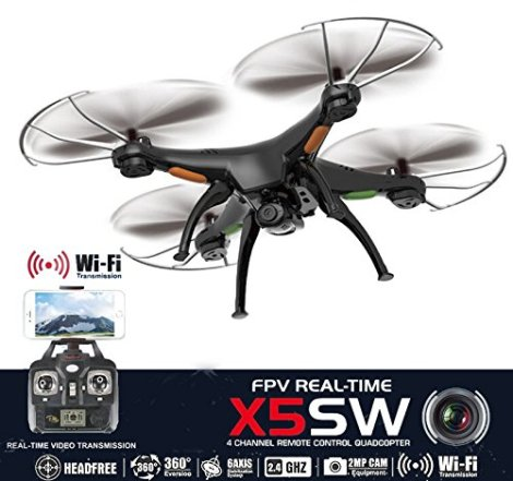 Drone-with-Camera-Live-Video-X5SW-Quadcopter-RC-Helicopter-FPV-Live-View-Feed-720p-2MP-HD-Camera-3D-Flip-Roll-6-Axis-Gyroscope-4-Channels-Radio-Control-KiiToys-USA-Warranty-Tech-Support