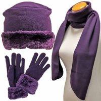 Luxury Divas Black Cloche Fur Trim Fleece 3 Piece Hat ...