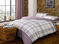 Marrow Checked Chequered Plum Beige Grey King Bed Size ...