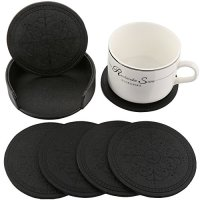 Leather Drink Coasters Cup Mat Set of 6 w/ Coaster Holder ...