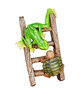 Amazoncom Young39s Resin Frogs Turtle On Ladder Figure
