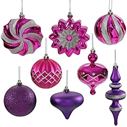 "Set of 18 Cerise Pink & Purple Passion Ball, Finial and Onion Shatterproof Christmas Ornaments 3""- 6"""