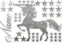 Unicorn & Stars Glitter Wall Sticker Vinyl Wall Art ...