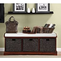 Storage Bench Lift Top Ottoman with Three Large Decorative ...