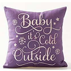 """Baby It's Cold Outside In Purple Letters Special Gift Idea Merry Christmas Gift Cotton Linen Decorative Throw Pillow Case Cushion Cover Square 18 """"X18 """""""