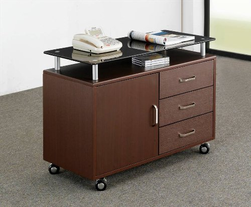 Picture of Comfortable Mad Tech 23.25x16x31.5 Chocolate Glass Top & Mdf Frame Computer Office Desk Table (B004W0MJS0) (Computer Desks)