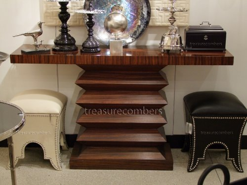 Image of Zig Zag Console Table Zebra Wood Contemporary Entry Hall Accent Table Chic Modern Design (B009DJALFS)
