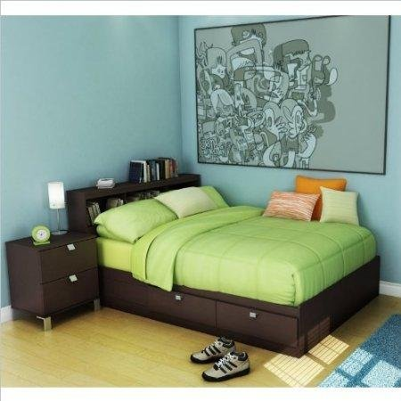 Image of South Shore Cakao Kids Full Storage Bed 4 Piece Bedroom Set in Chocolate (3259211-4PKG)