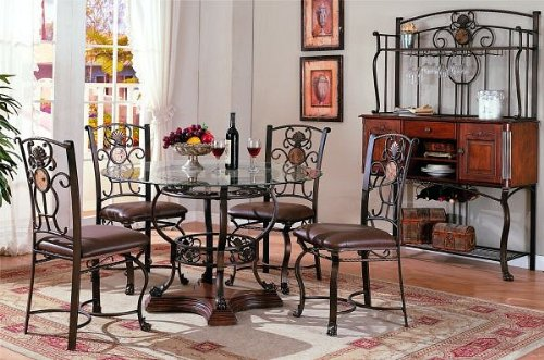 Image of 5pc Traditional Round Glass Top Dining Table & Chair Set (VF_Dinset-F2147-F1233)