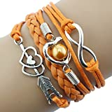 Doinshop Infinity Love Heart Pearl Friendship Antique Leather Charm Bracelet (orange)