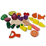 Set of 25 Magnetic Wooden Fruits and Vegetables Kitchen Toy Play Set