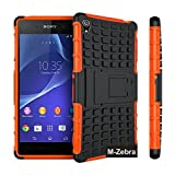 Sony Xperia Z3 Case, M-Zebra Sony Xperia Z3 Case Cover - Shock Absorption / High Impact Resistant Full Body Hybrid Armor Protection Defender Case Cover for Sony Xperia Z3,with Screen Protectors+Stylus(Black)+Cleaning Cloth (Kickstand Orange)