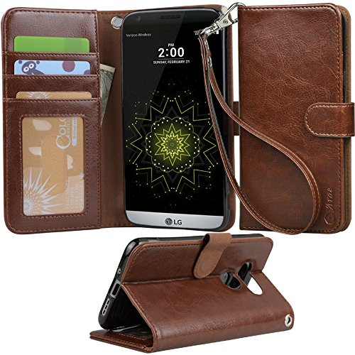 LG-G5-Case-Arae-Wrist-Strap-Flip-Folio-Kickstand-Feature-PU-leather-wallet-case-with-IDCredit-Card-Pockets-For-LG-G5-Brown