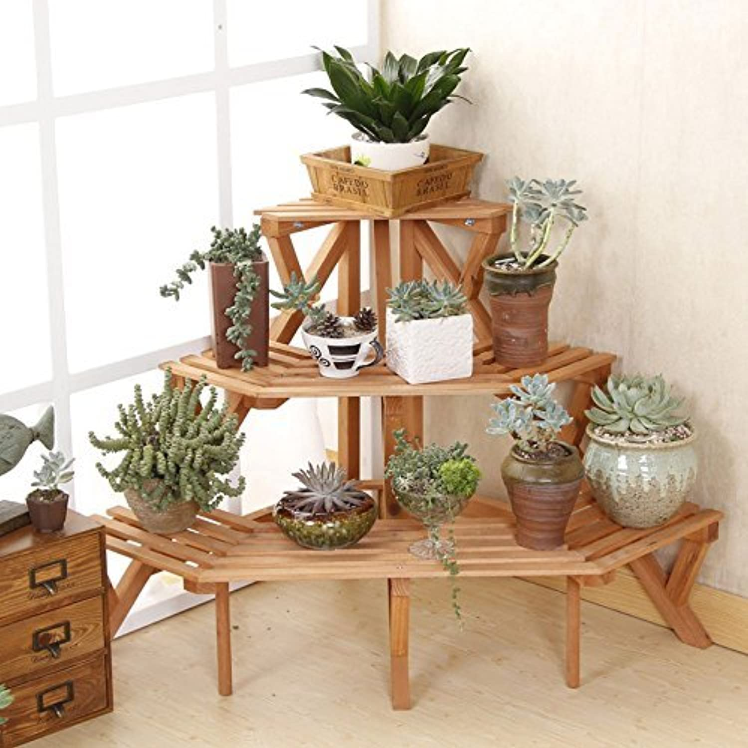 Plant Shelving Indoor 2016 New Style 3 Tier Fir Wood Conner Standing Flower Pot