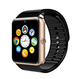 Bluetooth Smart Watch,VRunow All in One Wrist Watch Phone Wristwatch Unlocked Cell Phone Sweatproof Band with SIM Card Slot and NFC for IOS Iphone 5s/6/6s/7 and Android smart phone. (Gold)
