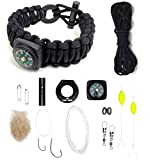 """The Ultimate Paracord Survival Kit Bracelet: Food, Fire, Shelter (Large 7""""-8.5"""" Black with Compass)"""