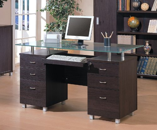 Picture of Comfortable Contemporary Home Office Computer Desk with Glass Top (B001HFFE5I) (Computer Desks)