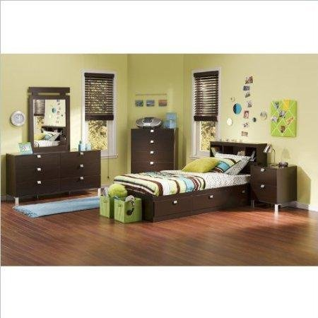 Image of South Shore Cakao Kids Twin 4 Piece Bedroom Set with Bookcase Headboard in Chocolate (3259080-4PKG)