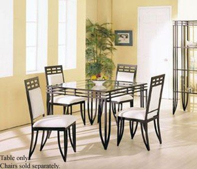 Image of Square Dining Table with Glass Top Black Wrought Iron (VF_AM8214)