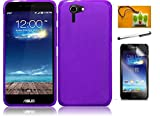 LF 4 in 1 Bundle - TPU Flexible Soft Gel Case, Stylus Pen, Screen Protector & Wiper for Asus Padfone X (TPU Purple)