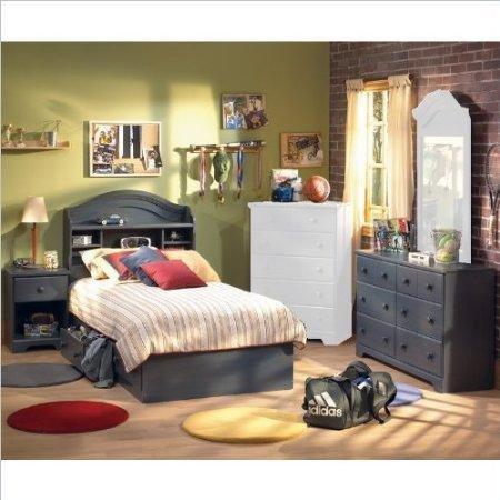 Image of South Shore Summer Breeze Antique Blue Kids Twin Wood Captain's Bed 4 Piece Bedroom Set (3294080-4PKG)