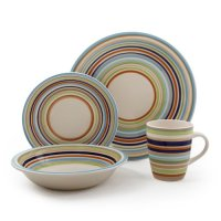 Gibson Urban Stripes 16-Piece Handpainted Stoneware ...