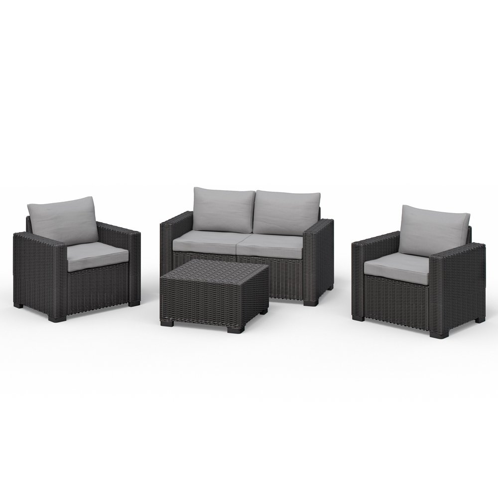 Allibert Sessel Allibert California Lounge Set Polyrattan Gartenmöbel Rattanoptik