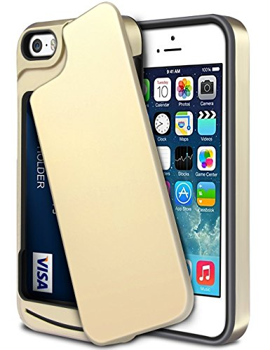 iPhone-5S-Case-iPhone-SE-CaseWollony-Slim-Fit-Hybrid-Dual-Layer-Armor-Protective-Back-Cover-iPhone-SE5S5-Wallet-Card-Slide-Case-Anti-Scratch-Shockproof-ID-Credit-Card-Slot-Holder-Bumper-Gold