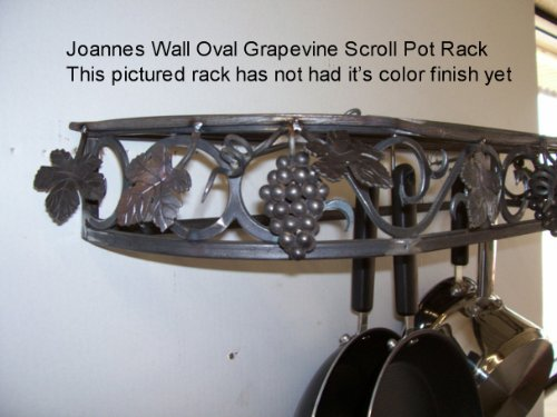 Image of Grapevine pot rack & Wall Oval Cookware Pot Pan Rack by Joanne (wog)