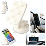 First2savvv New white super strong 360 degrees anti slip octopus vacuum Suckers windscreen Car Mount Cradle Holder Stand for ALCATEL IDOL2 MINI POP C2 POP D1 POP D3 POP D5 FIRE C FIRE E IDOL 2 MINI L POD 2 (4.5) HERO 2