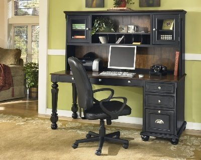Picture of Comfortable Brush Hollow Black/Brown Hardwood Computer Desk & Hutch Brush Hollow Black/Brown Collection (B002A1JZ44) (Computer Desks)