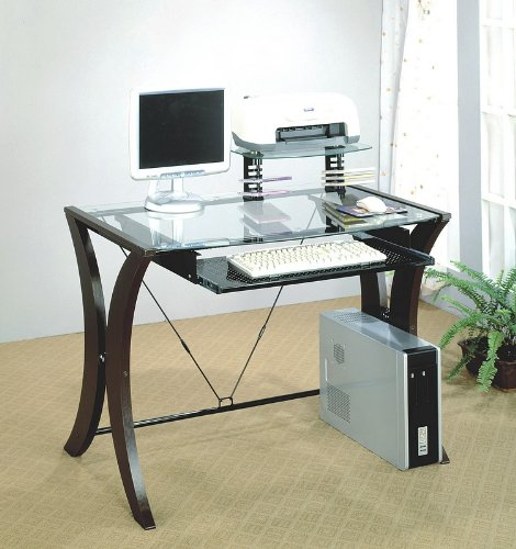 Picture of Comfortable Home Office Wood Glass PC Computer Desk CPU Stand (B001DDKA7Q) (Computer Desks)