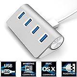 """Sabrent Premium 4 Port Aluminum USB 3.0 Hub (30"""" cable) for iMac, MacBook, MacBook Pro, MacBook Air, Mac Mini, or any PC (HB-MAC3)"""