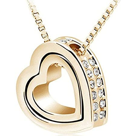 Tips: Avoid wearing when sweating,sleeping and bathing Avoid hitting and cutting off Avoid touching chemicals Pls wipe jewelry with a soft cloth Package Include: 1PC Fashion Double Heart Crystal Rhinestone Eternal Love Silver Necklace(wit...