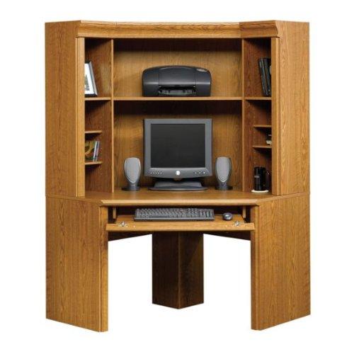 Picture of Comfortable Corner Computer Desk with Hutch - Oak Finish (B004QIZRDW) (Computer Desks)