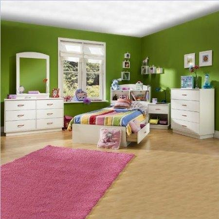Image of South Shore Logik Kids Wood White Captain's Bed 5 Piece Bedroom Set (3360-PKG)