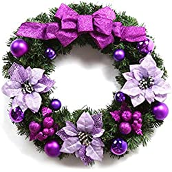 Luckygirls 24 inch Pine Artificial Christmas Wreath Decorated with Bowknot Balls Ornaments Indoor Bedroom Dining Room Christmas Flowers Wreath