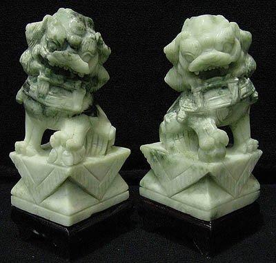 Carved Jade Foo Dogs