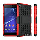 Sony Xperia Z3 Case, M-Zebra Sony Xperia Z3 Case Cover - Shock Absorption / High Impact Resistant Full Body Hybrid Armor Protection Defender Case Cover for Sony Xperia Z3,with Screen Protectors+Stylus(Black)+Cleaning Cloth (Kickstand Red)