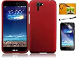 LF 4 in 1 Bundle - Red Hard Case Snap On Cover, Stylus Pen, Screen Protector & Wiper for Asus Padfone X (Hard Red)