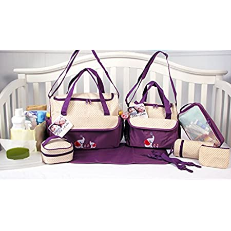 Great 10 pieces Fashion diaper bag set for stylish Mom. Made of 100% Nylon, easy to wipe clean. 1. Extra roomy main compartment with multipe pockets ,Reliable zip-top closure with carrying strap, 2. Mid-Size Tote bag with zipper closure and shoulder ...