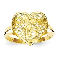 Amazon.com: 14k Yellow Gold Sweet 16 Heart Ring: Jewelry