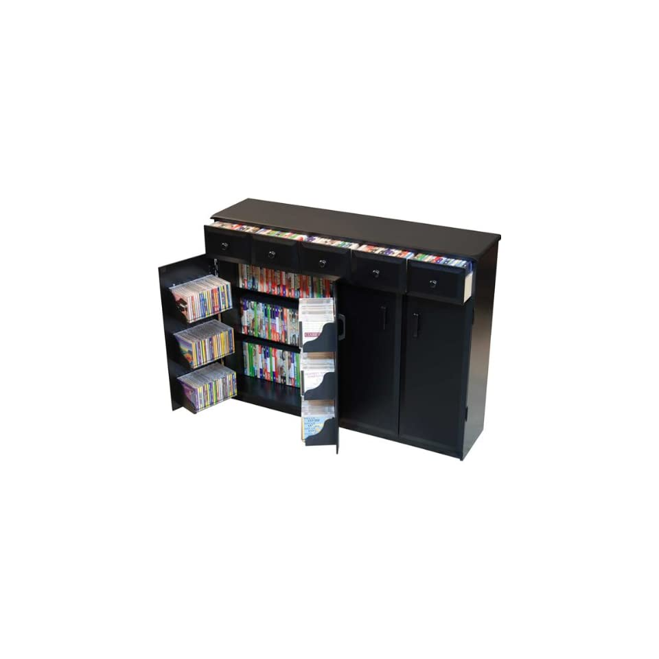 CD DVD Media Storage Cabinet With Drawers in Black 2368BL
