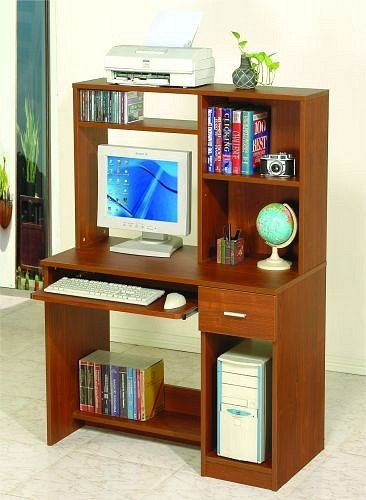 Picture of Comfortable Medium Brown Finish Computer Desk Wall Organizer w/ Pull Out Tray (B000V4ZW5S) (Computer Desks)