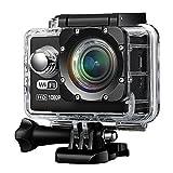 Action Camera e Videocamerea, Topop 1080p 12MP WIFI Azione Videocamera 170 Glass Lenti Mini 30m Impermeabile Videocamera di Sport 2.0 Pollici Full HD ° Grandangolare Immersioni Subacquee con 2 Batterie