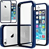 iPhone 5S Case, Caseology [Clearback Bumper] Apple iPhone 5/5S Case [DIY Customization] [Navy Blue] Scratch-Resistant Clear Back Cover [Drop Protection] TPU Hybrid Fusion Best Apple iPhone 5/5S clear case (for Apple iPhone 5/5S Verizon, AT&T Sprint, T-mobile, Unlocked)