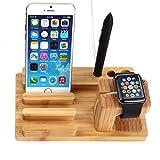 GVDV Apple watch 充電スタンド,ドック 卓上充電スタンド/ 高級竹製スタンド/Apple watch38mm、Apple watch 42mm( BASIC / SPORT / EDITON)対応 ,iPad,iPhone 6s, ,iphone 6 plus,iphone 6,iphone 5s,iphone 5,Samsung s6,Sony xperia等に対応 (木材の色)