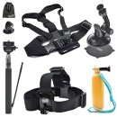 Head Strap,Floaty Grip Pole,Chest Harness Mount,Car Suction Cup Stand Holder and Selfie Stick Monopod for Garmin Virb XE Action Camera, EEEKit 5in1 Accessories Starter Kit
