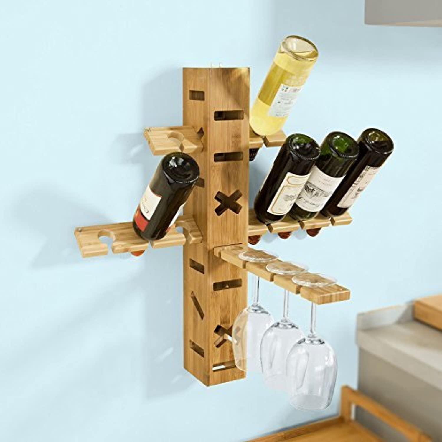 Wall Bottle Holders Sobuyà 39 Frg91 N Multi Setting Bamboo Wall Mounted Wine